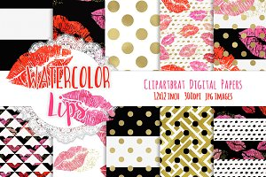 Watercolor Lips Digital Paper Pack
