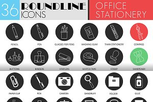 Office stationery icons. 2 styles