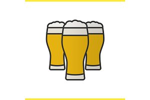Three beer glasses icon. Vector