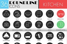Kitchen tools icons set. 2 Styles