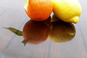 orange and lemon and shadow