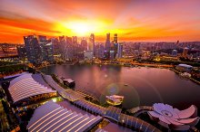 Cityscape of Singapore at sunset