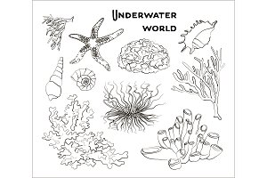 Set of underwater objects