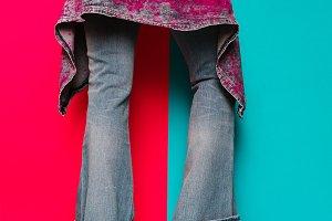 Trendy denim clothing. Fashion
