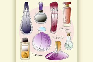 Set of vector perfume fashion