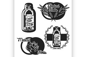 medical plants herbs emblems