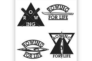 Color vintage rowing emblems
