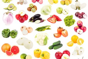 Set of different raw fruits and vegetables, isolated