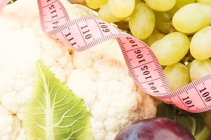 ?auliflower, green grape, walnut and plum, isolated
