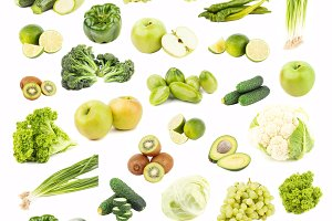 Collection of different green fruits and vegetables