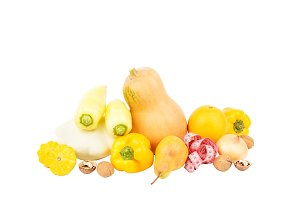 Set of multicolored fresh raw vegetables and fruits