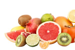 Set of multicolored fresh raw fruits