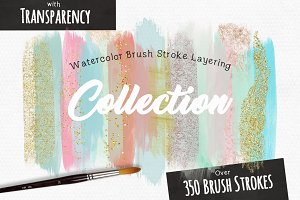 Watercolor Brush Stroke Layering Set