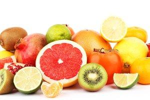Set of multicolored fresh raw fruits