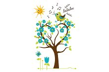 Singing Bird on the tree. Vector