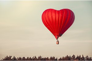 Red balloon in the  sky