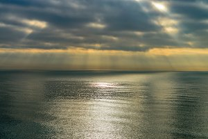 Tranquil sea with clouds