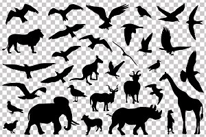 Set of vector animals silhouettes