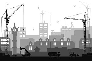City under construction background