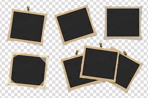 Set of square old vintage frames