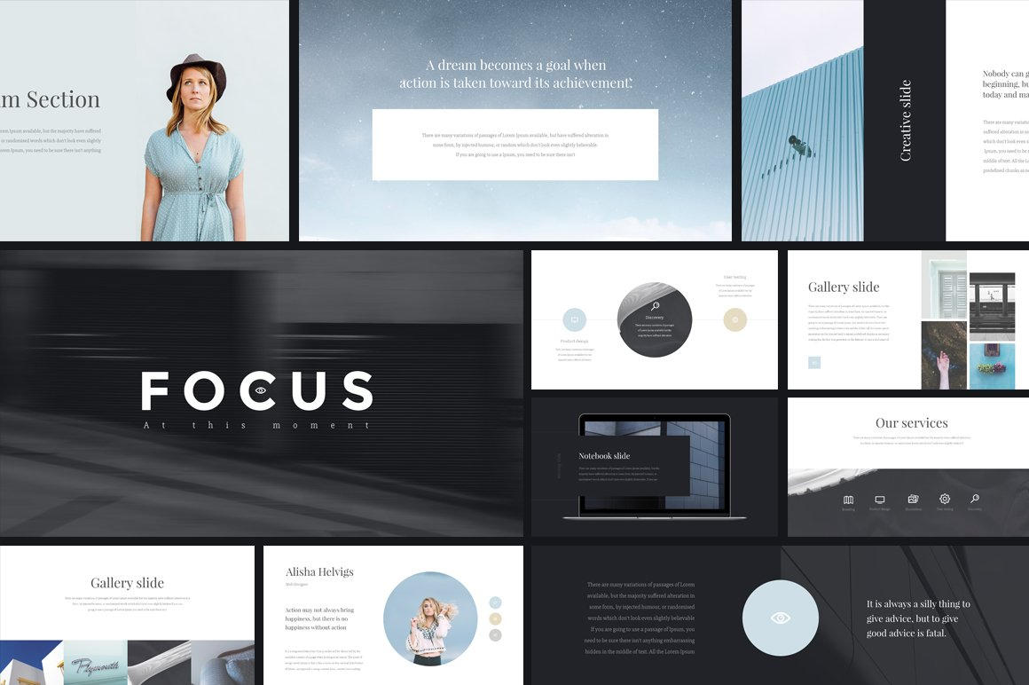 Focus Keynote Template + GIFT ~ Presentation Templates ~ Creative Market