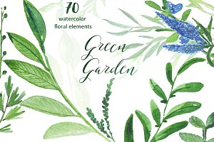 Green garden. Watercolors collection