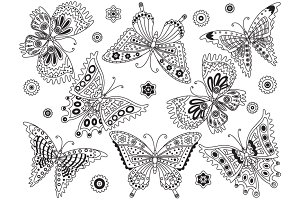 Vector Black and White Butterfly Set