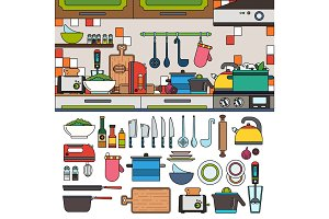 Cooking tools and utensils in the kitchen