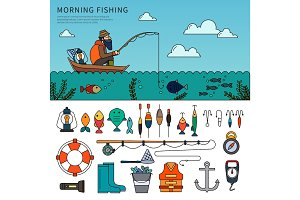 Man fishing flat line vector