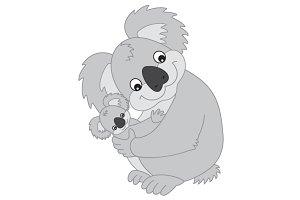 Vector Koala with Baby