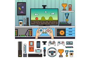 Gamer room with gadgets