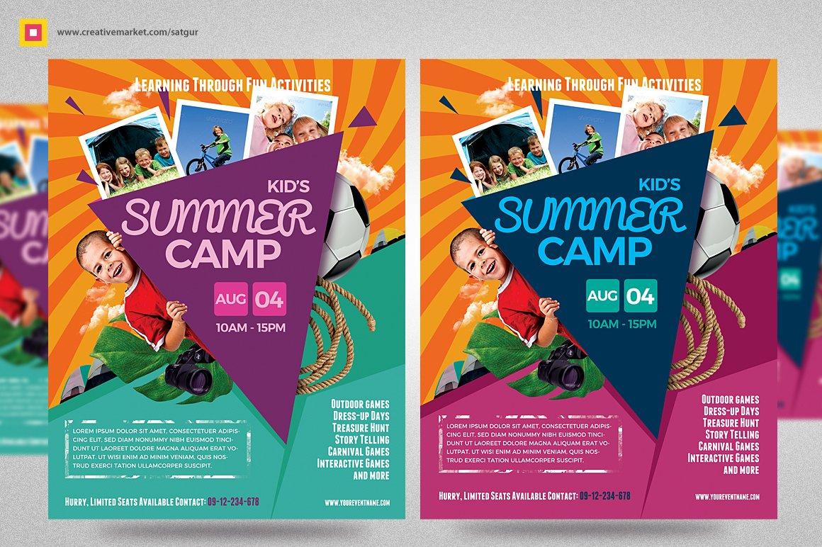kids summer camp flyers bundle flyer templates creative market