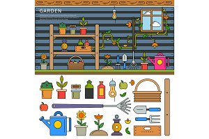 Garden equipment line flat illustration