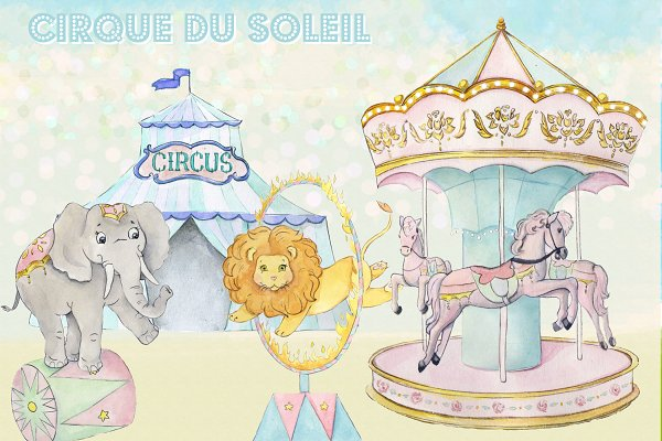 Watercolor Circus Clipart Images