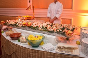 Buffet table with seafood