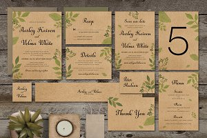 Leaves Wedding Invitation Suite