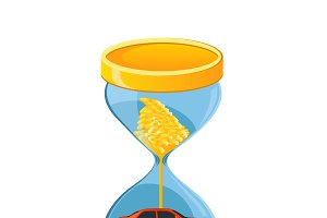 hourglass, car loan concept, vector