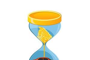 hourglass, car loan concept, vector