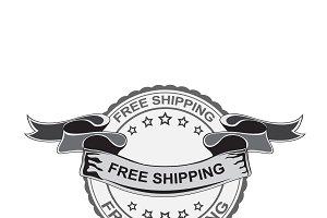 free shipping emblem, vector