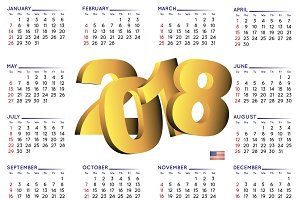 2018 calendar in english. USA