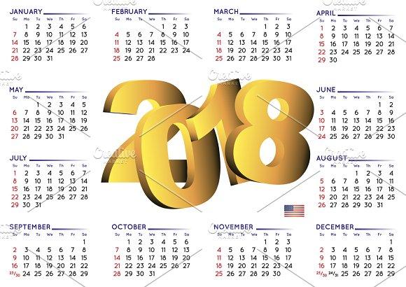 2018 Calendar In English USA
