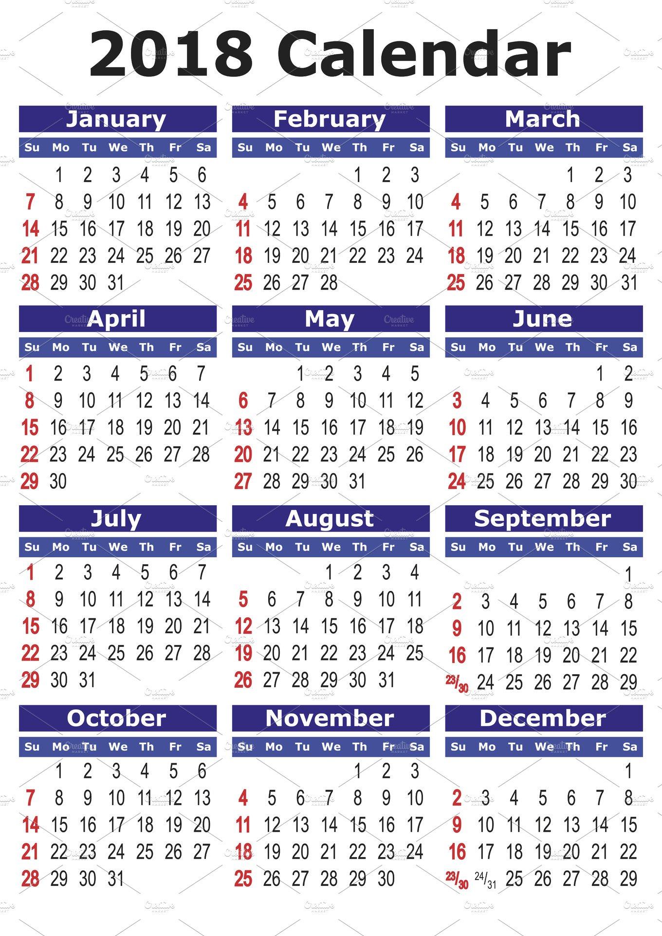 Calendar English : Calendar in english illustrations creative market