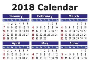 2018 calendar in english