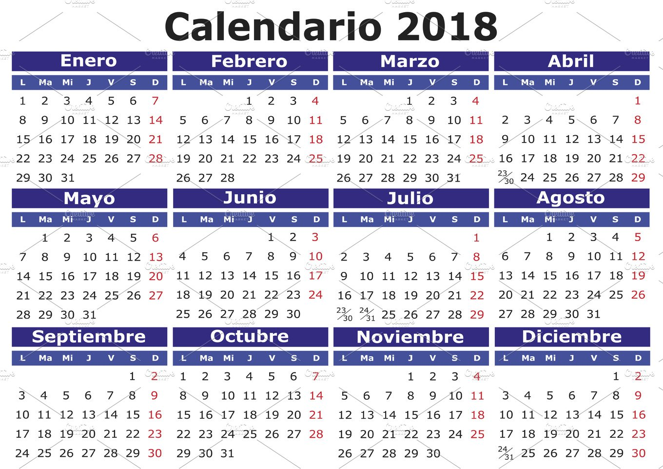 2018 calendar in spanish illustrations creative market for Horario peru wellness