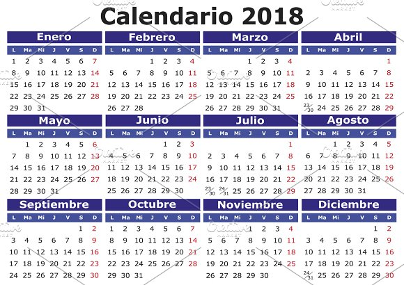 2018 calendar in spanish illustrations