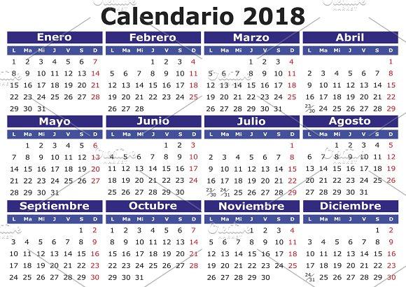 2018 calendar in spanish ~ Illustrations ~ Creative Market