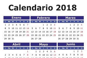 2018 calendar in spanish