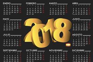 2018 calendar black in spanish