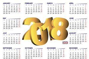 2018 calendar in english UK