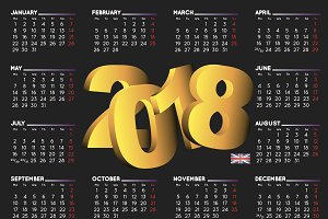 2018 black calendar in english UK